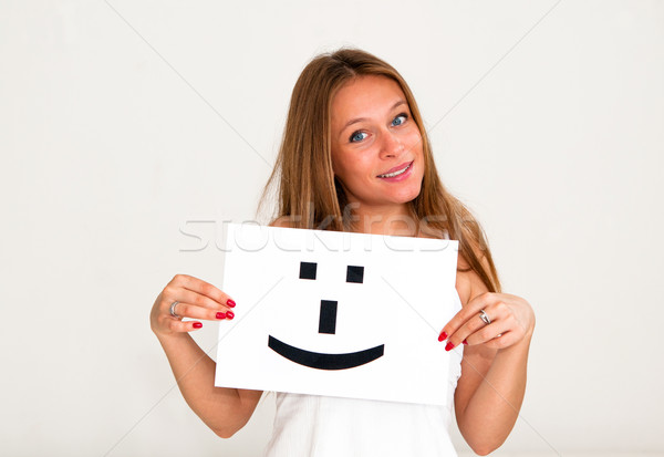 Kobieta pokładzie uśmiech twarz podpisania portret Zdjęcia stock © ilolab