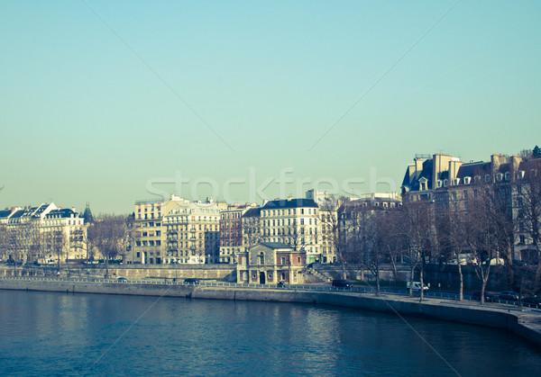 Gyönyörű párizsi napsütés utcák Európa égbolt Stock fotó © ilolab