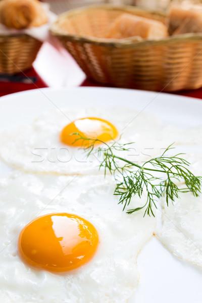 Hazır yumurta güneş gıda plaka kahvaltı Stok fotoğraf © ilolab