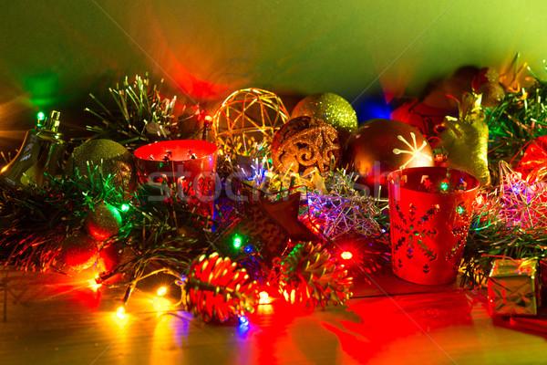 Сток-фото: Рождества · украшение · свечей · темно · текстуры · рождения