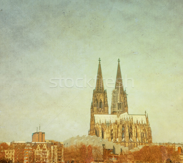 Retro Gothic Cathedral in Cologne Stock photo © ilolab