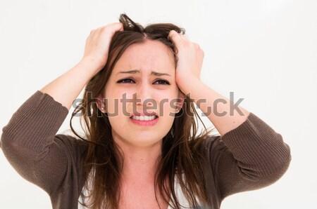 Foto stock: Jovem · pânico · mulher · mãos · cabeça · olhos