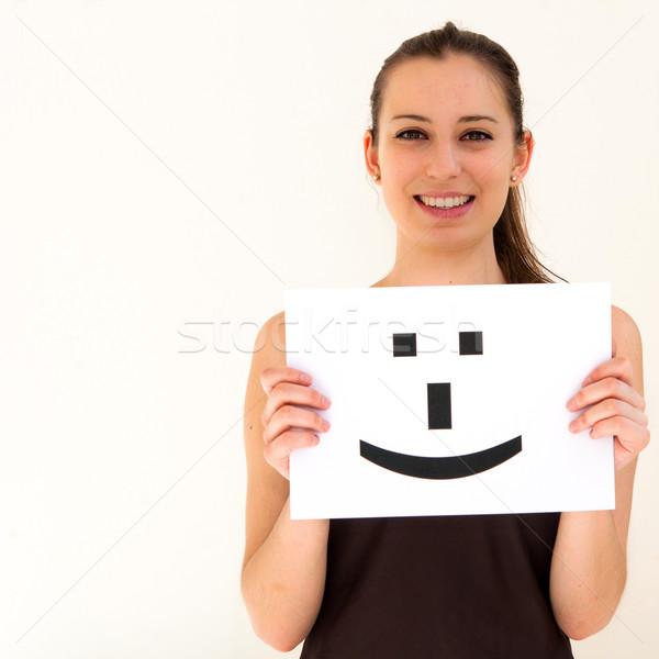 Portret jonge vrouw boord glimlach gezicht teken Stockfoto © ilolab