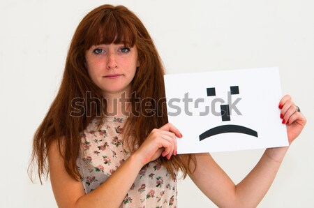 Zdjęcia stock: Szczęśliwy · portret · młoda · kobieta · pokładzie · tak · papieru