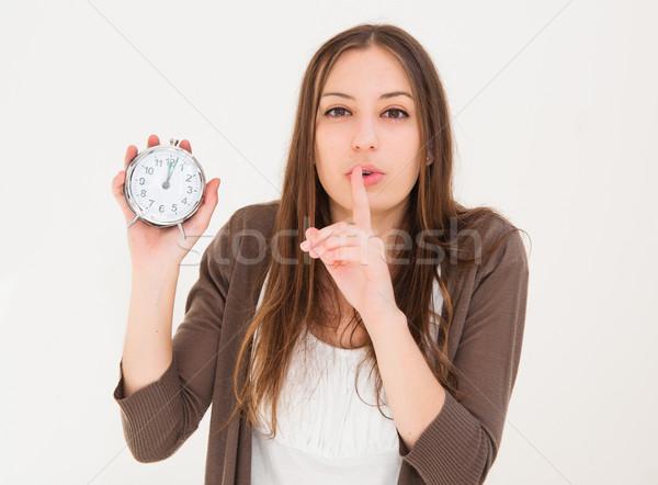Gyönyörű fiatal nő riasztó óra üzlet Stock fotó © ilolab