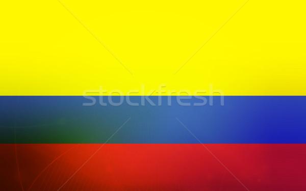 Zászló Colombia absztrakt felirat vonalak egyszerű Stock fotó © ilolab
