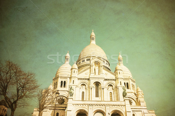 Retro kerk montmartre Blauw reizen aanbidden Stockfoto © ilolab