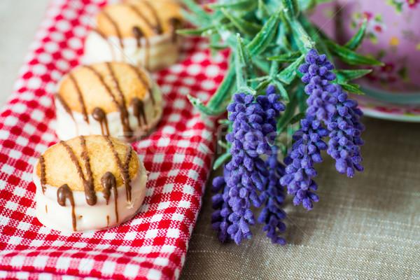 Stockfoto: Chocolade · biscuit · Rood · servet · voedsel · cake
