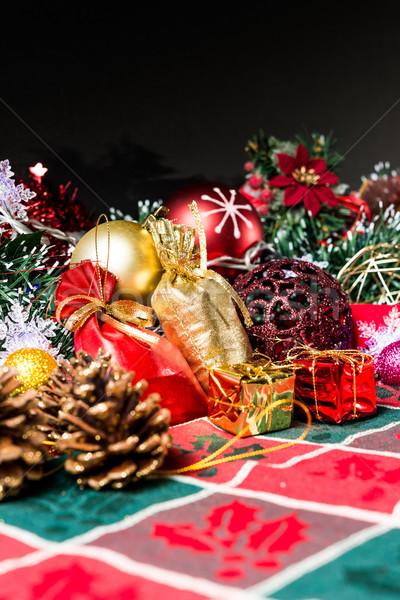 Christmas dekoracji ciemne drzewo polu dar Zdjęcia stock © ilolab