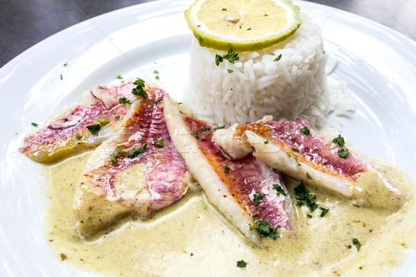 гриль рыбы кухня блюдо лимона пластина Сток-фото © ilolab