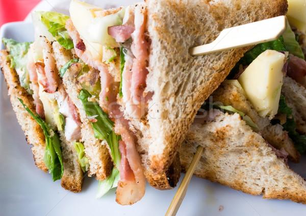 Sandwich pancetta pollo pane pranzo toast Foto d'archivio © ilolab