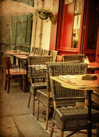 Kávézó terasz kávé utca üveg étterem Stock fotó © ilolab