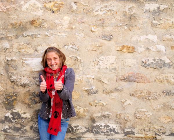 Sorridente encantador mulher jovem feliz ao ar livre retrato Foto stock © ilolab