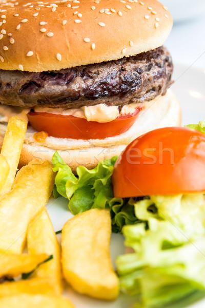 Hamburger sajt hamburger amerikai friss saláta Stock fotó © ilolab