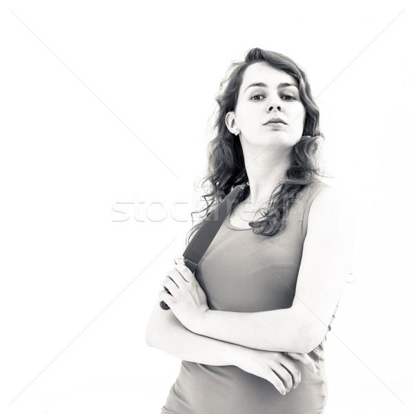 Asesino mujer cuchillo blanco nina fondo Foto stock © ilolab