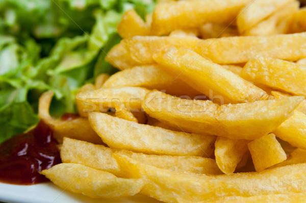 Frites françaises pommes de terre or prêt repas restauration rapide Photo stock © ilolab