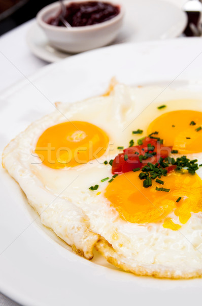 Bereid ei zon voedsel diner plaat Stockfoto © ilolab
