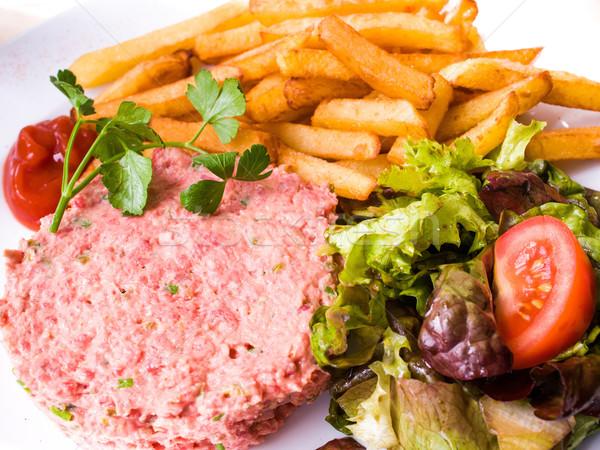 tasty Steak tartare (Raw beef) Stock photo © ilolab