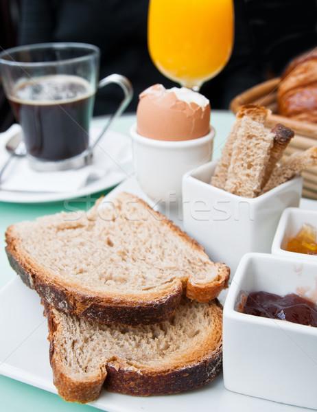 Kahvaltı portakal suyu taze meyve tablo turuncu Stok fotoğraf © ilolab