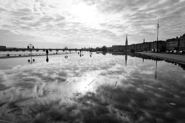 Street view of Place De La Bourse in Bordeaux city Stock photo © ilolab