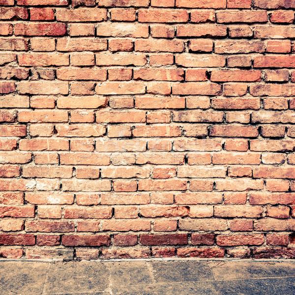 Stok fotoğraf: Eski · kırmızı · tuğla · duvar · dokular · arka · turuncu