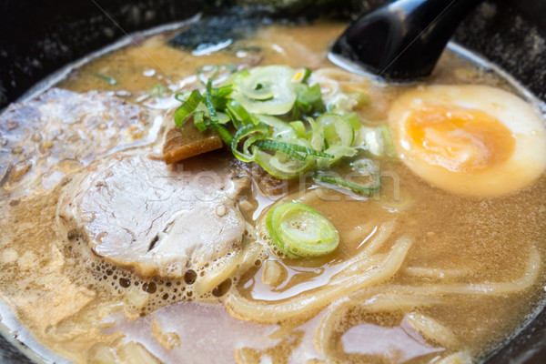 Tasty Japanese ramen soup bowl with pork, egg, and vegetables Stock photo © ilolab