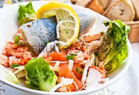 Stok fotoğraf: Taze · deniz · ürünleri · salata · yaprak · yağ