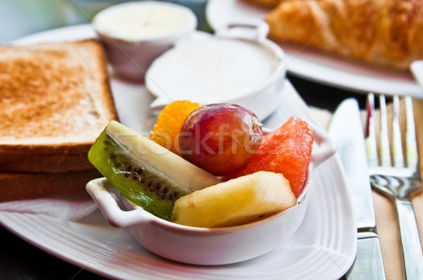 Breakfast with orange juice and fresh fruits Stock photo © ilolab