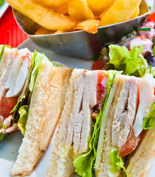 Sandwich poulet fromages or frites françaises pommes de terre Photo stock © ilolab
