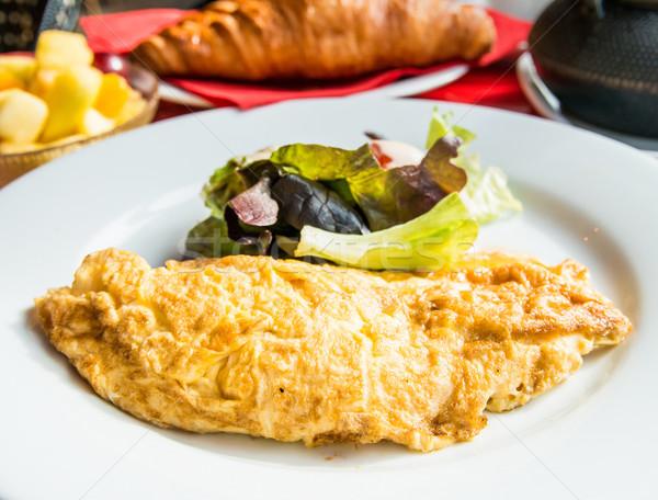 Zdjęcia stock: Szynka · pomidorów · zielone · Sałatka · jaj · śniadanie