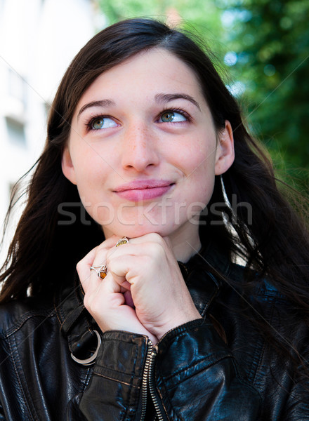 beautiful young attractive woman outdoors portrait of thinking w Stock photo © ilolab