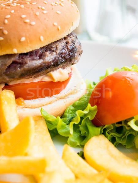 Käse burger frischen Salat Gesundheit Stock foto © ilolab