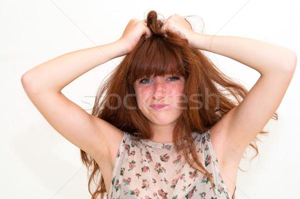 Giovani panico donna mani testa occhi Foto d'archivio © ilolab