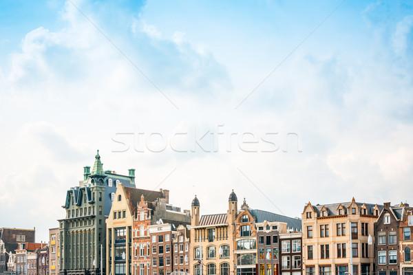 Belle vue sur la rue traditionnel vieux bâtiments Amsterdam Photo stock © ilolab