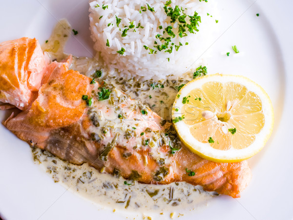 grilled salmon and lemon Stock photo © ilolab