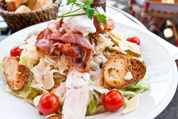 Taze tavuk salatası domates gıda peynir yağ Stok fotoğraf © ilolab