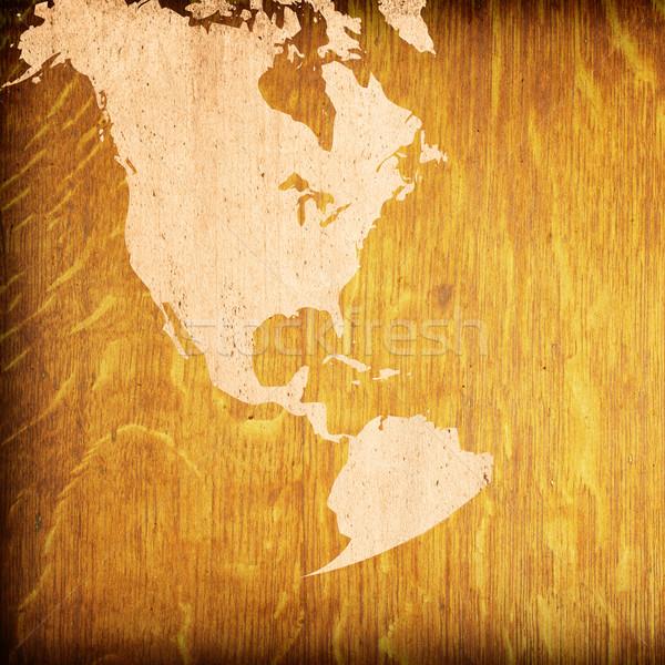 Foto stock: América · mapa · fundo · oceano