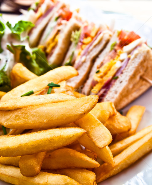 Sandwich with chicken, cheese and golden French fries potatoes Stock photo © ilolab