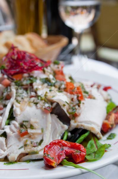 Taze tavuk salatası domates peynir yağ akşam yemeği Stok fotoğraf © ilolab