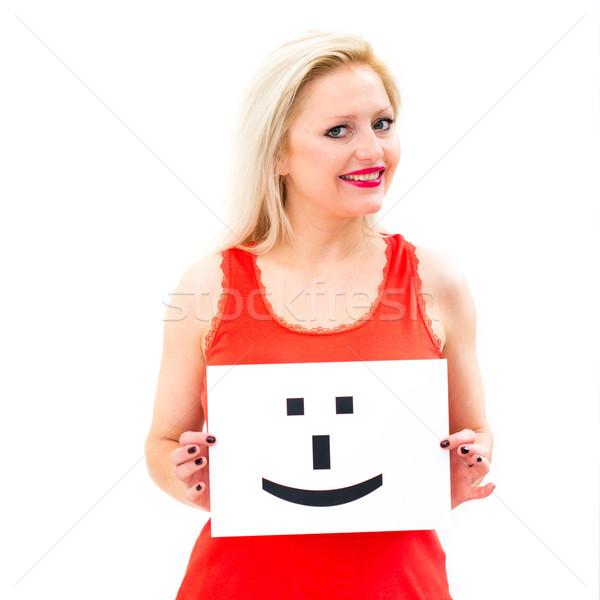 Glimlach gezicht teken portret jonge vrouw boord Stockfoto © ilolab