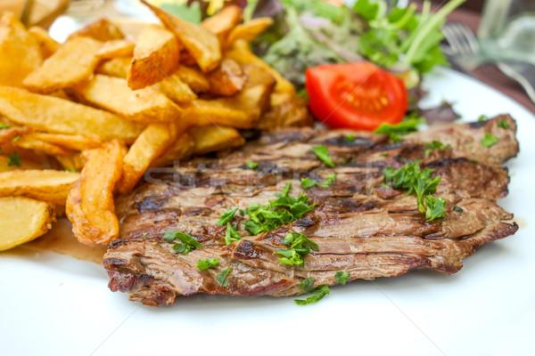 ジューシー ステーキ 牛肉 肉 トマト フライドポテト ストックフォト © ilolab
