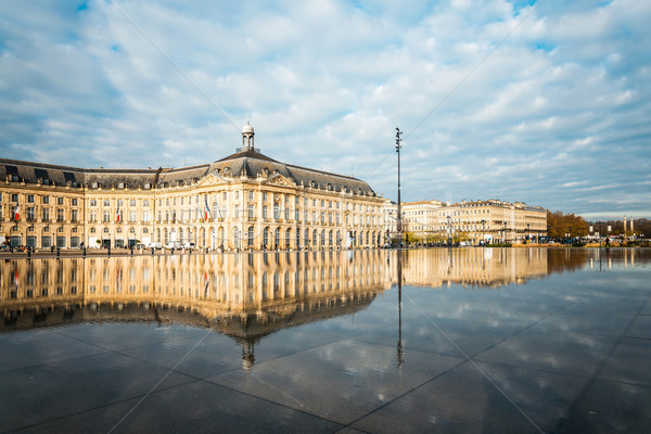 Street view of Place De La Bourse in Bordeaux city Stock photo © ilolab