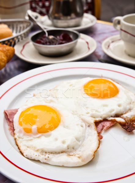 Przygotowany jaj słońce żywności tablicy śniadanie Zdjęcia stock © ilolab