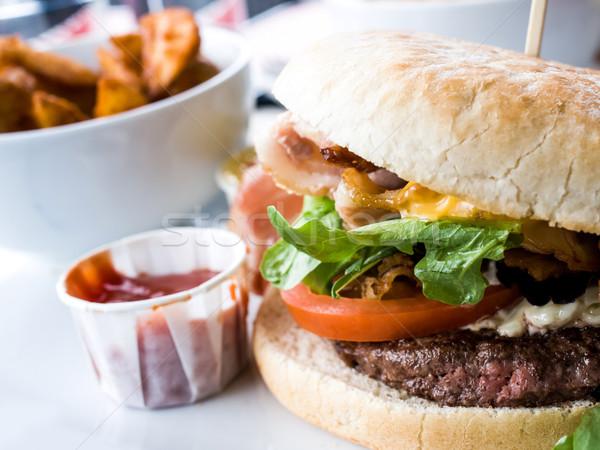 Peynir Burger amerikan taze salata gıda Stok fotoğraf © ilolab