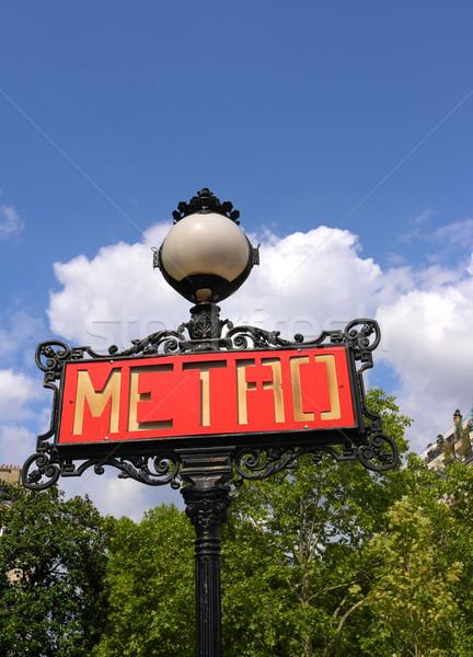 Paris metro sign with trees and sky background  Stock photo © ilolab