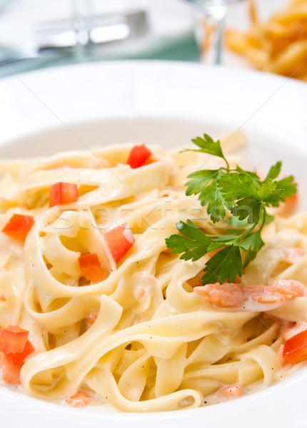 ízletes tészta lazac közelkép tányér füstölz lazac Stock fotó © ilolab