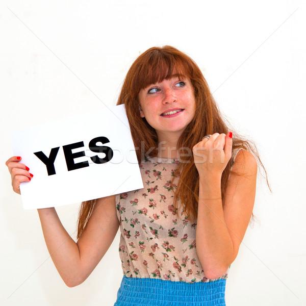 Tahta evet mutlu portre genç kadın kâğıt Stok fotoğraf © ilolab
