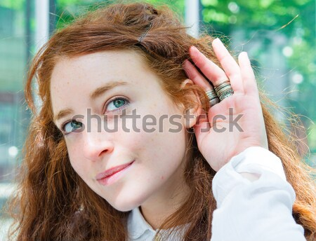 Relying on hand-ear listening the Good news Stock photo © ilolab