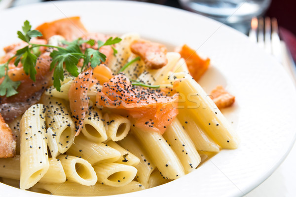 pasta and smoked salmon Stock photo © ilolab