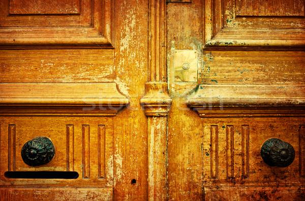 Fából készült ajtó grunge textúrák hátterek ház Stock fotó © ilolab